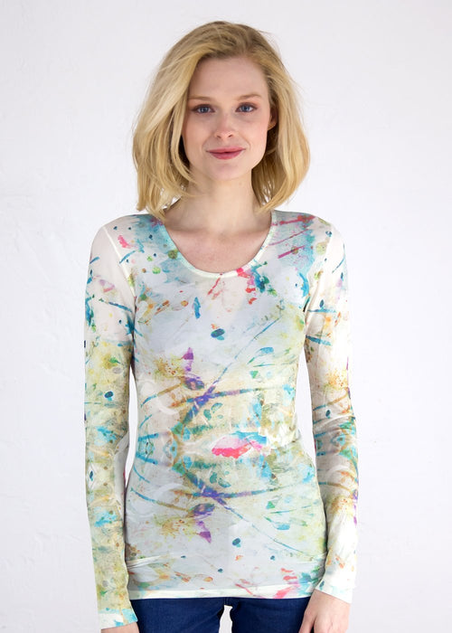 Watercolor Splash Crew Neck Top