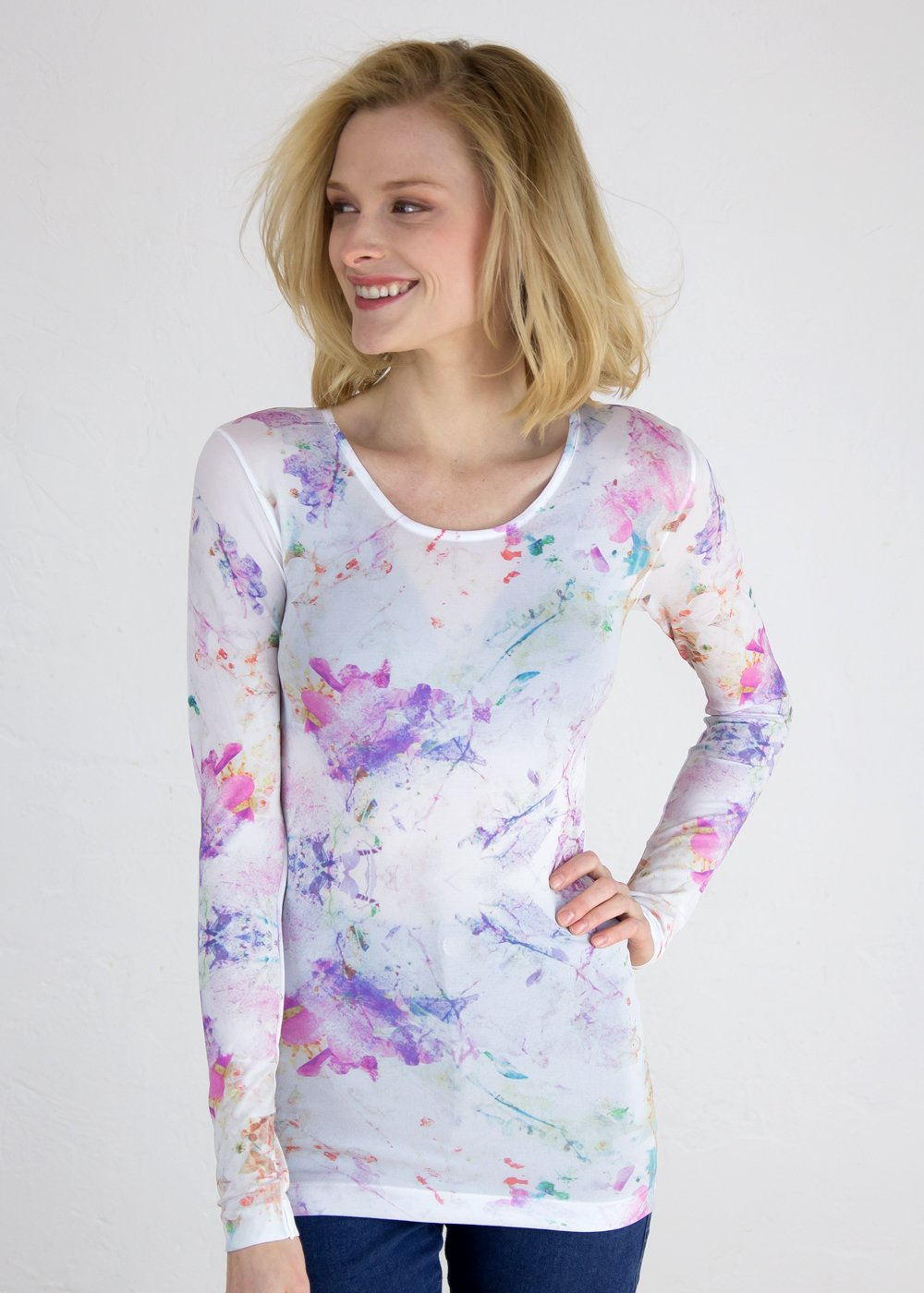 Watercolor Bloom Crew Neck Top
