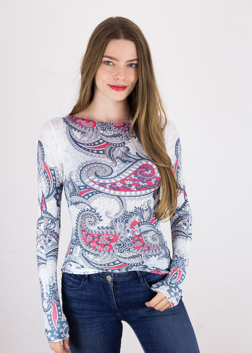 Bandana Paisley Raw Edge Top