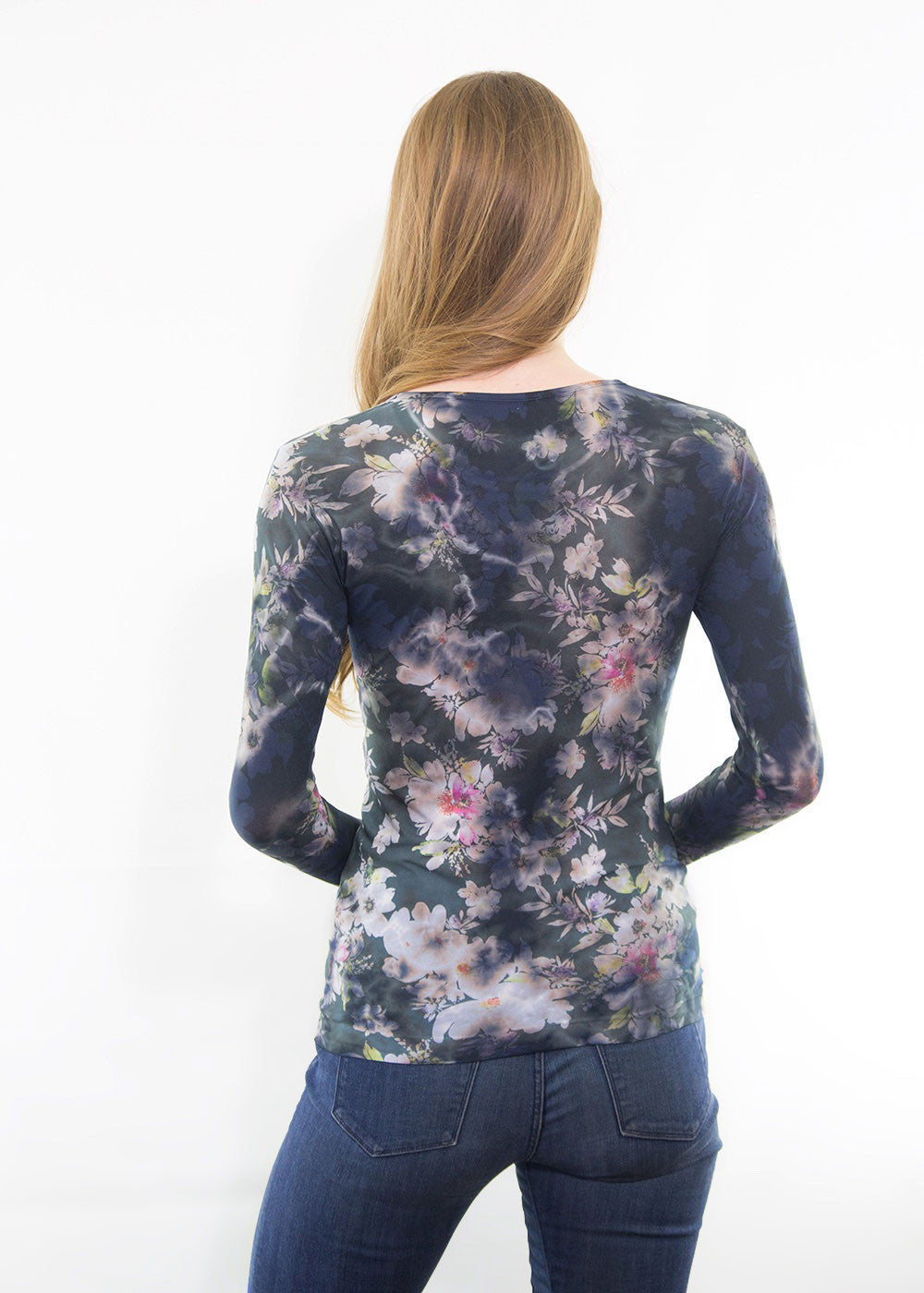 Midnight Bloom Crew Neck Top