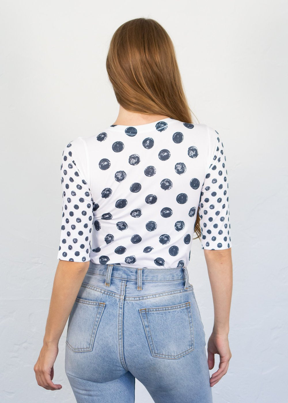 Grunge Polka Dot Elbow Sleeve Top