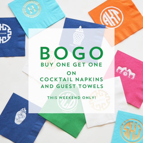 Buy One Get One Sale on Foil-Stamped Cocktail Napkins and Guest Towels