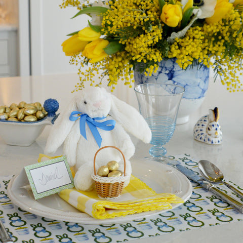 easter bunny topiary paper placemats for easter brunch