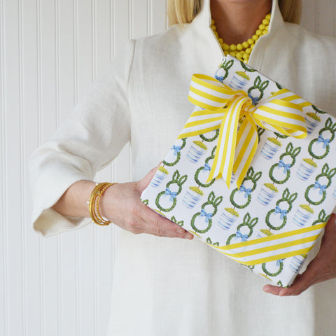 easter bunny topiary gift wrap and yellow stripe ribbon
