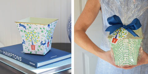 WH Hostess candle cache pot in spring toile for an Easter gift