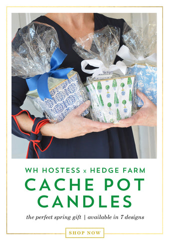 WH Hostess patterned cache pot candles from Hedge Farm