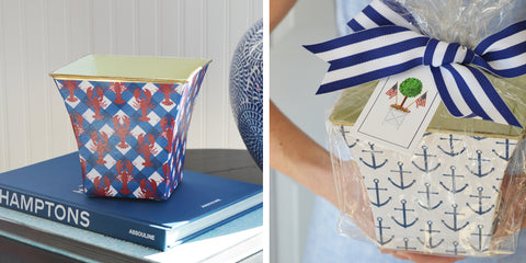 nautical pattern cache pot candles from wh hostess