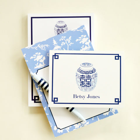 Double Happiness Jar Personalized Folded Notecard from WH Hostess