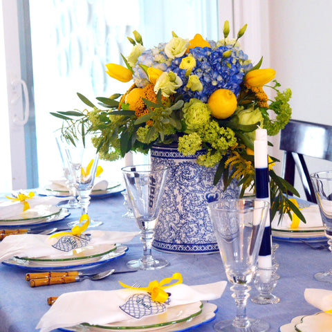 Ginger jar and lemons spring tablesetting