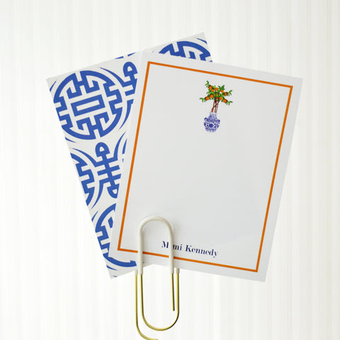 Orange Tree in blue and white chinoiserie pot personalized flat notecard by WH Hostess