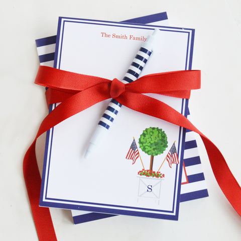 patriotic topiary notepad gift for Memorial Day