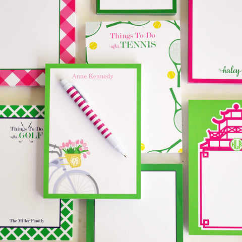 personalized notepads in preppy pink and green