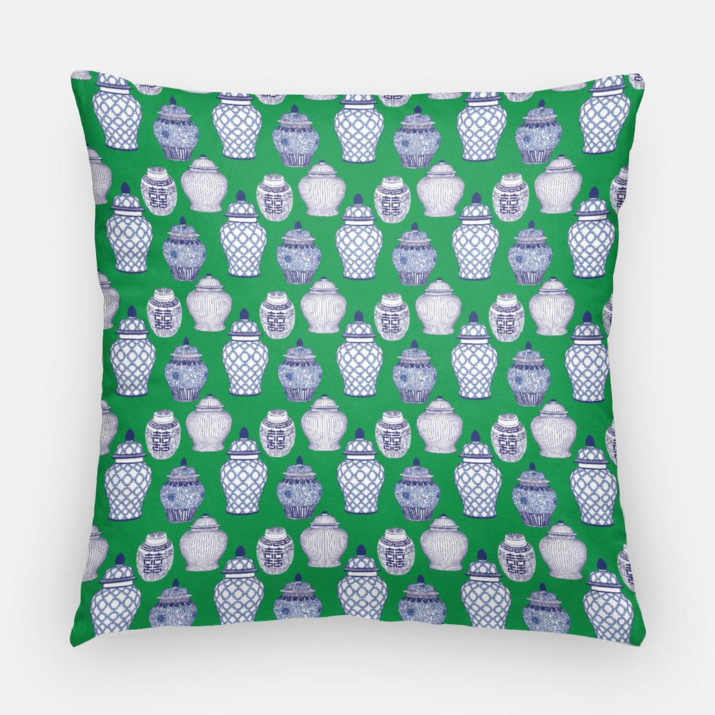 Cotton Throw Pillow Case | Ginger Jar Pattern on Emerald Green