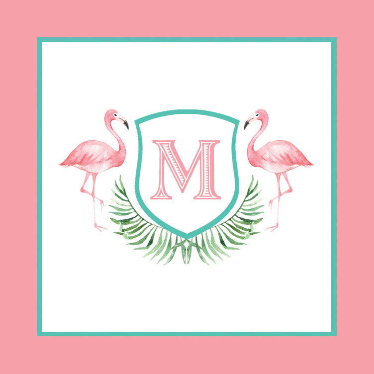 Watercolor Pink Flamingo Square Stickers | Set of 24