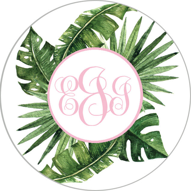 "2"" Round Palm Leaves Monogram Stickers 