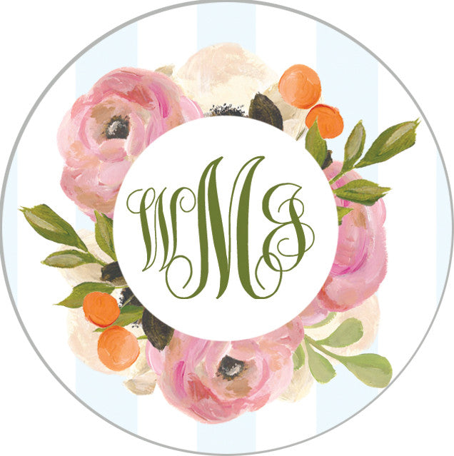 Pink Watercolor Flowers and Blue Stripe Monogram Sticker