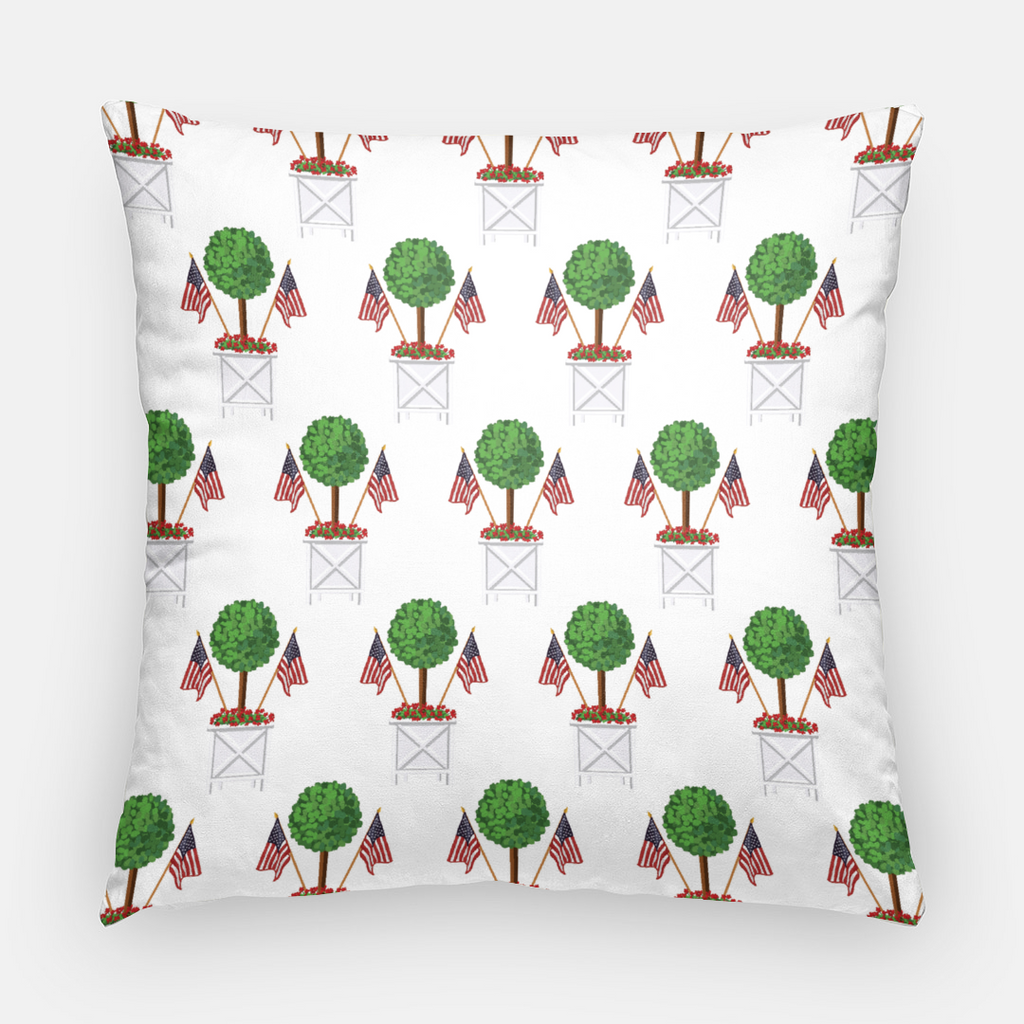 Cotton Throw Pillow Case | Patriotic Topiary