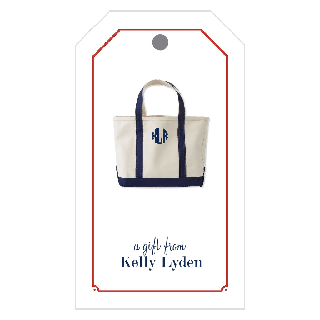 Monogrammed Canvas Boat Tote Personalized Gift Tags