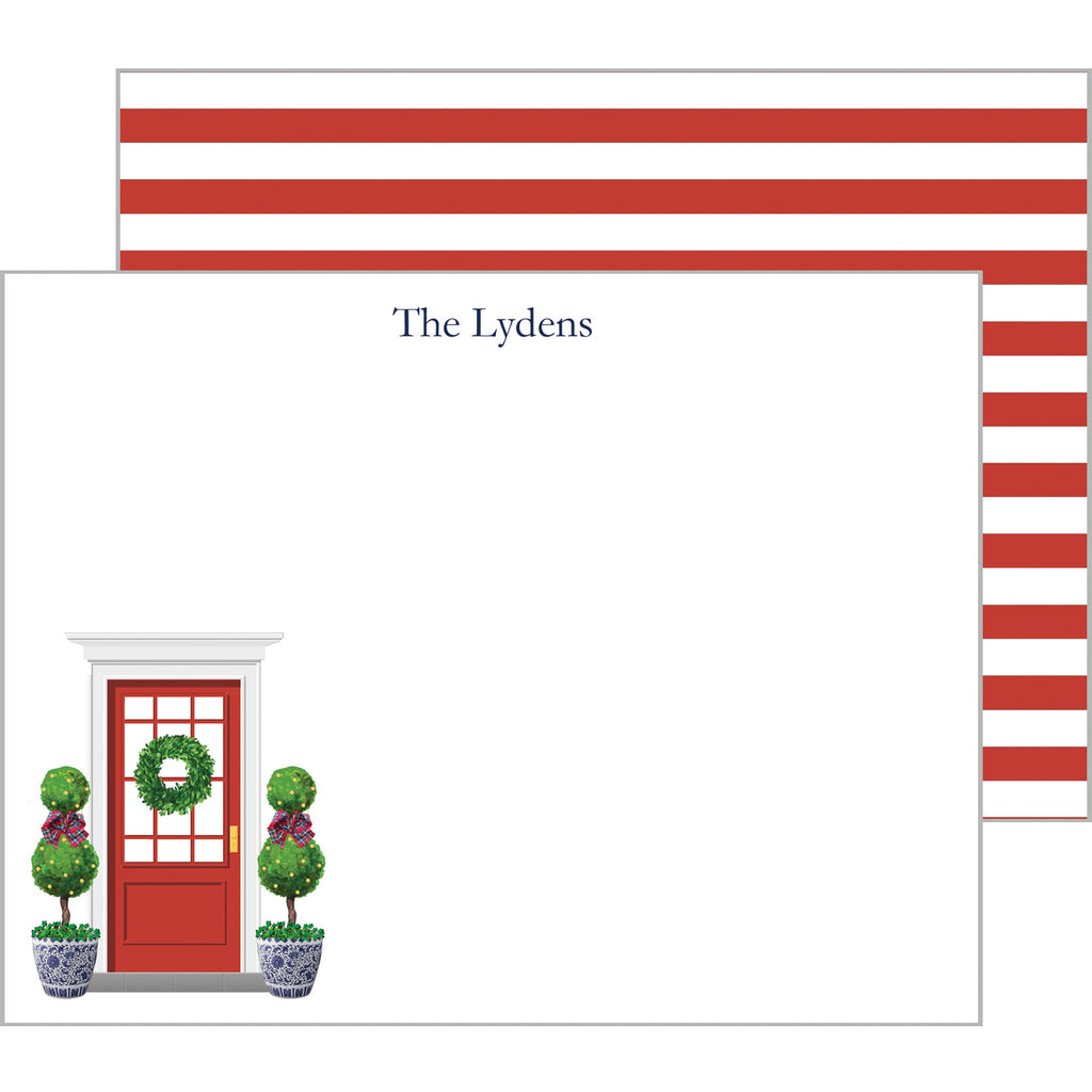 Chinoiserie Red Front Door with Christmas Topiaries Personalized Flat Notecard