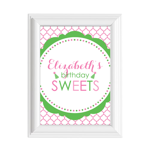 "Classic Birthday Girl & Balloons 5""x7"" Sign"