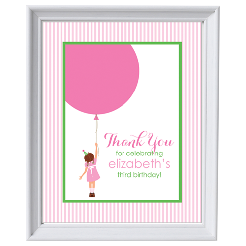 "Classic Birthday Girl & Balloons 8""x10"" Sign"