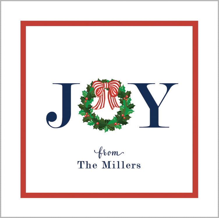JOY Christmas Holly Wreath Gift Stickers | Set of 24