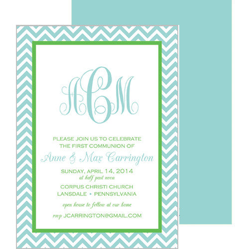 Aqua & Green Chevron Monogram First Communion + Baptism Invitation