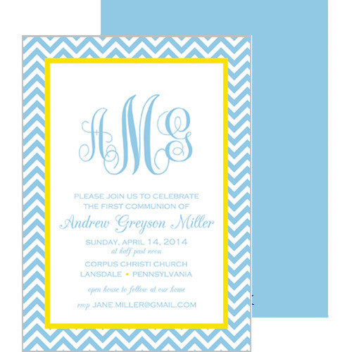 Blue & Yellow Chevron Monogram First Communion Invitation