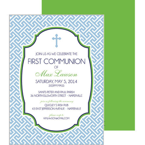 Preppy Blue Greek Key First Communion + Baptism Invitation