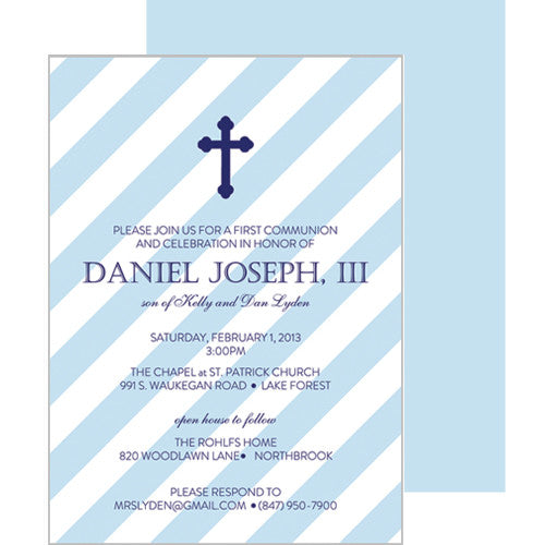 Blue Diagonal Stripe First Communion or Baptism Invitation