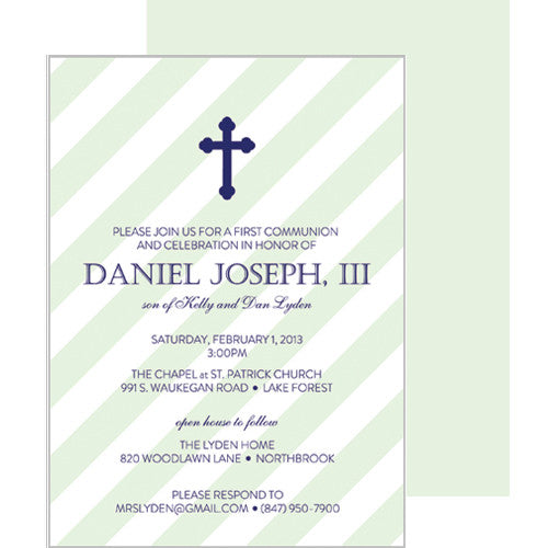 Green Diagonal Stripe First Communion + Baptism Invitation