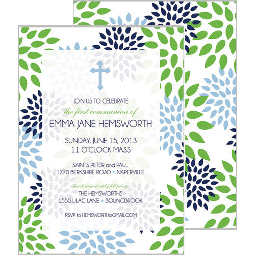 Blue Green Floral Mums First Communion + Baptism Invitation