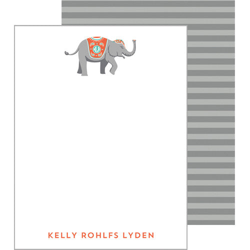 Monogram Elephant Flat Notecard - More Colors