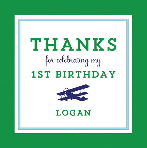 Airplane 2.5 inch Gift Sticker | Blue + Green