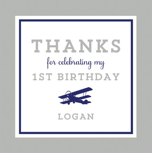 Airplane 2.5 inch Gift Sticker | Grey + Navy Blue