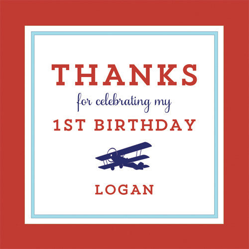 Airplane 2.5 inch Gift Sticker | Red + Blue
