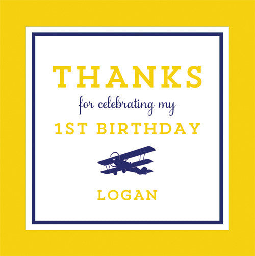 Copy of Airplane 2.5 inch Gift Sticker | Yellow + Navy Blue