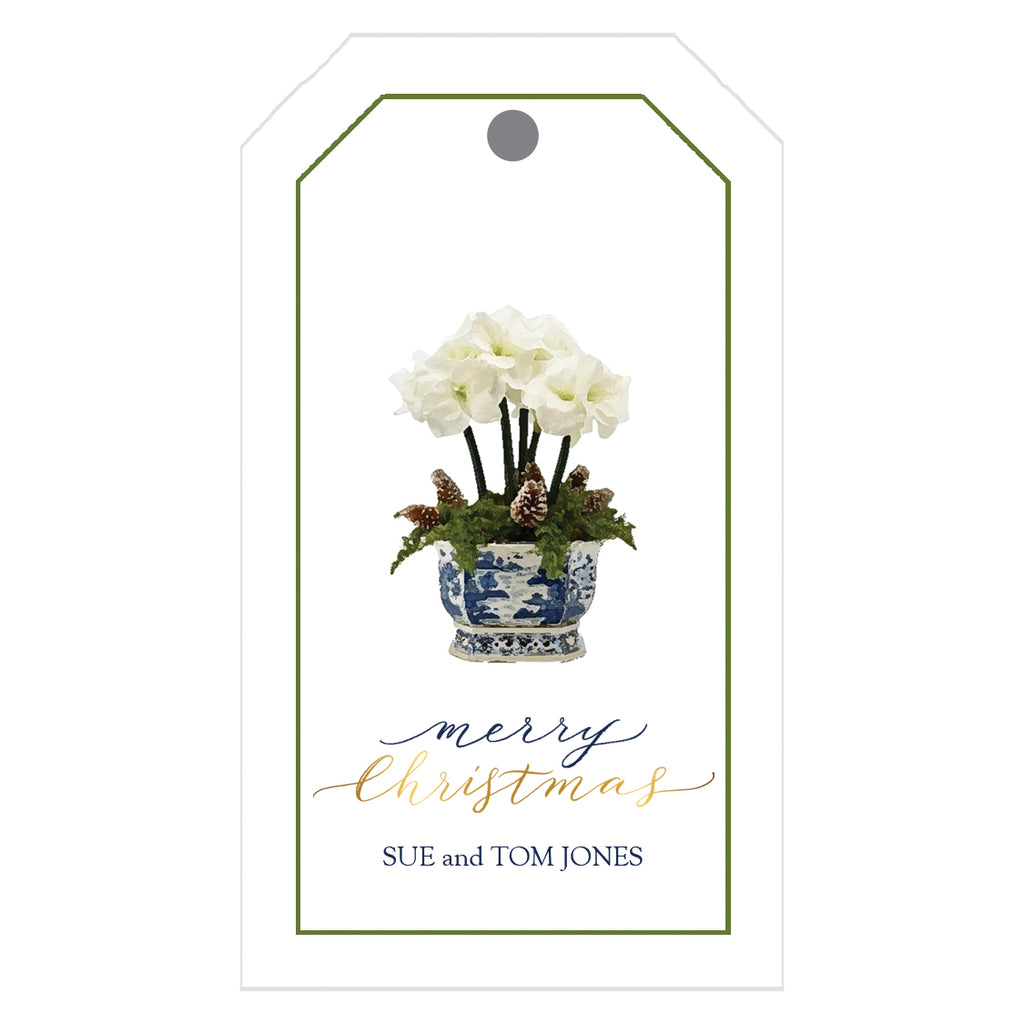 Amaryllis Personalized Christmas Gift Tags