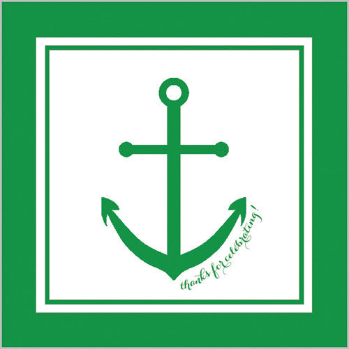 Preppy Anchor Gift Sticker - Set of 24 - Green