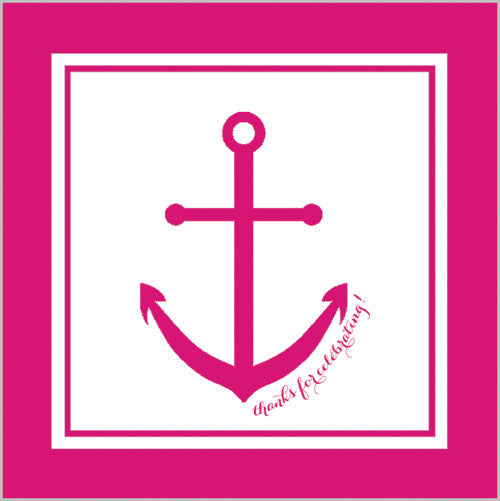 Preppy Anchor Gift Sticker - Set of 24 - Hot Pink