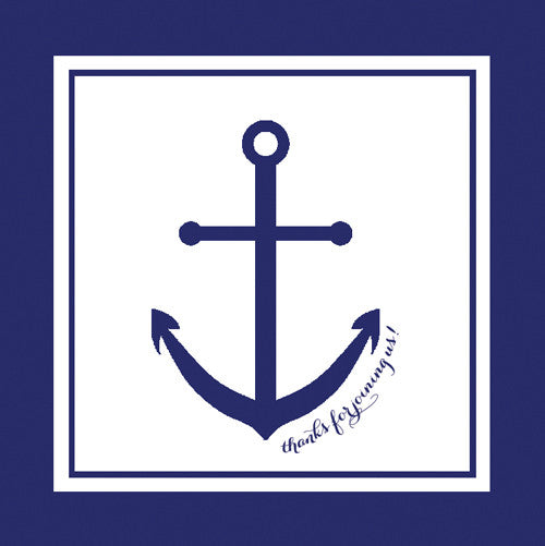 Preppy Anchor Gift Sticker - Set of 24 - Navy Blue