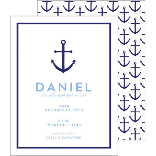 Preppy Anchor A2 Birth Announcement Card