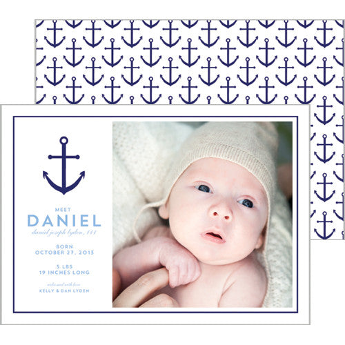 Preppy Anchor Photo Birth Announcement Card