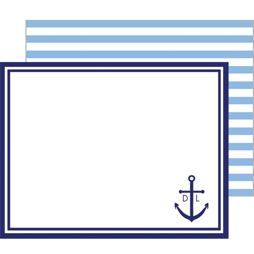 Preppy Anchor Baby Personalized Flat Notecards