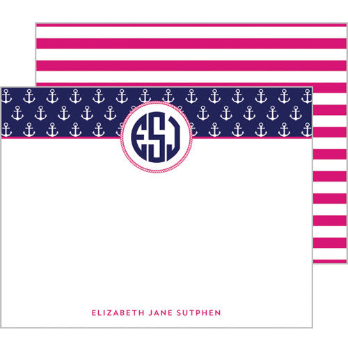 Anchor Monogram Personalized Flat Notecards - More Color Options