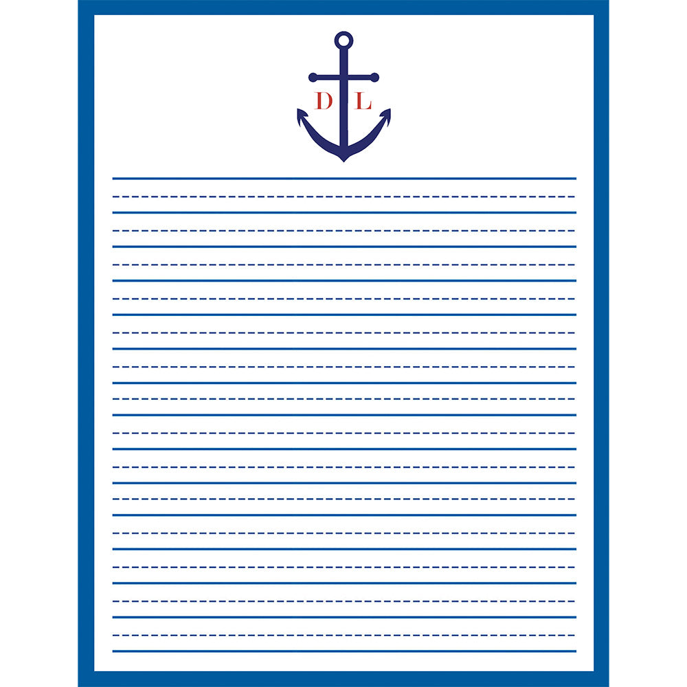 8.5x11 Monogrammed Anchor Lined Notepad (50 pages)