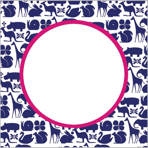 Preppy Animals Gift Sticker - Set of 24 - Navy Blue