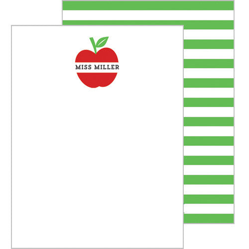 Apple Stripe Personalized Flat Notecards