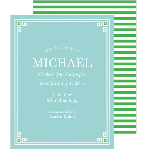 Aqua + Green Greek Key Border A2 Birth Announcement Card Wholesale