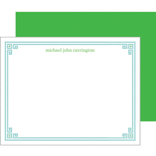 Aqua + Green Greek Key Border Personalized Flat Notecards